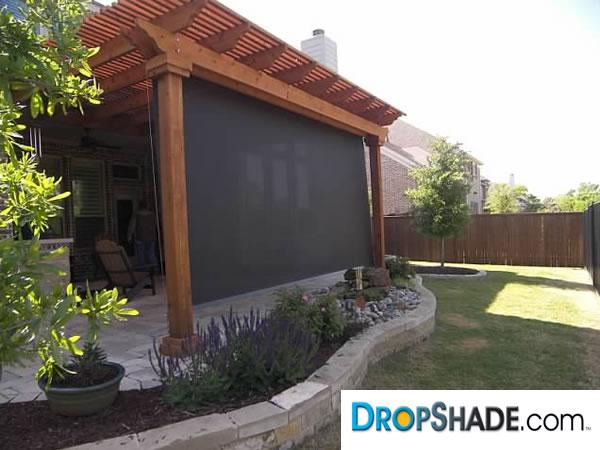 Patio drop shades exterior motorized retractable shades - How to make a patio shade ...
