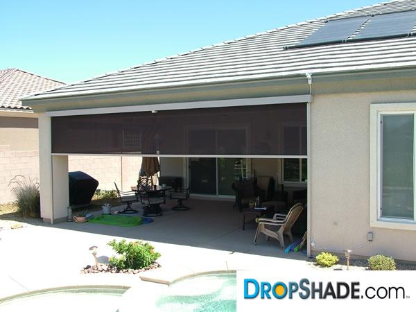 Patio drop shades exterior motorized retractable shades for Motorized outdoor patio shades